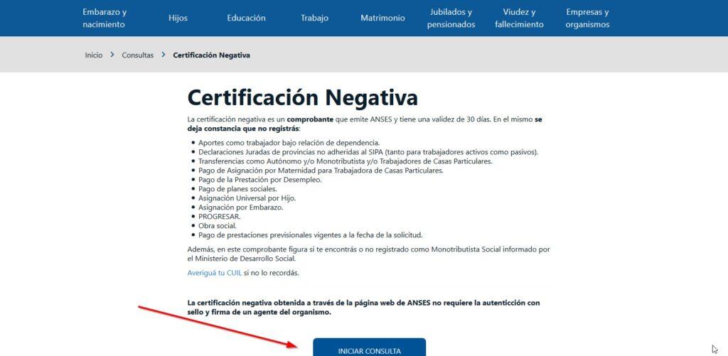 Certificación negativa paso 3