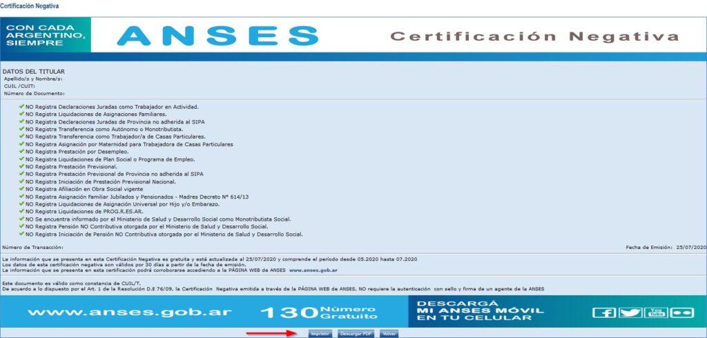 Certificación negativa paso 5