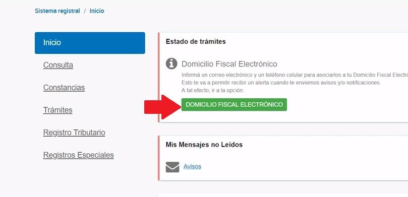 domicilio fiscal electrónico menu