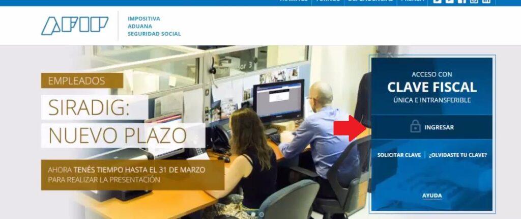 Portal web de la AFIP