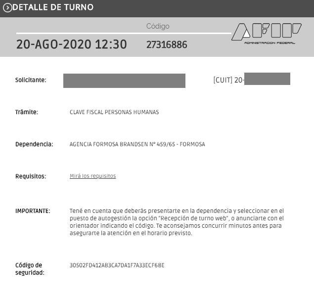 EJEMPLO DE COMPROBANTE DE TURNO WEB AFIP