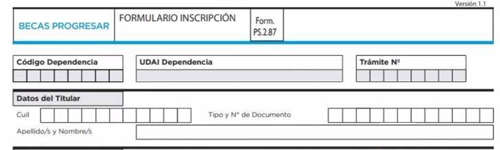 Datos del títular formulario becas progresar