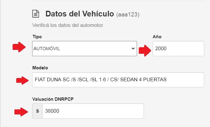 datos del vehiculo tipo, años, modelo