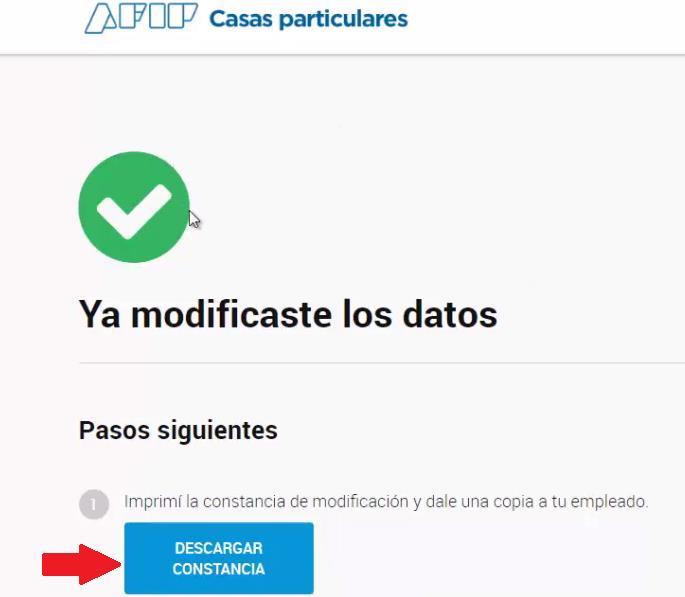mensaje de confirmación cambiar datos trabajador sistema empleadas casas particulares afip