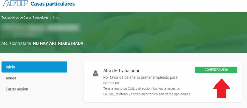 Comenzar ALTA DE TRABAJADOR CASAS PARTICULARES AFIP