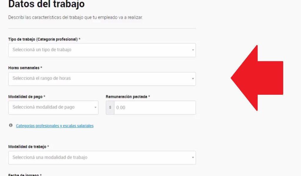 Ingresar DATOS DEL TRABAJO DAR DE ALTA EMPLEADO DE CASAS PARTICULARES AFIP