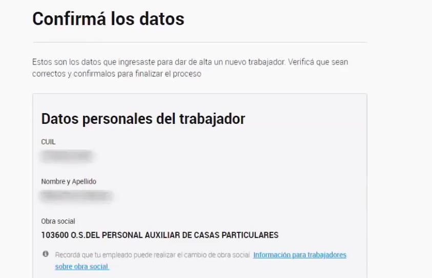 Mensaje de confirmación DATOS PERSONALES TRABAJADOR ALTA SISTEMA CASAS PARTICULARES AFIP
