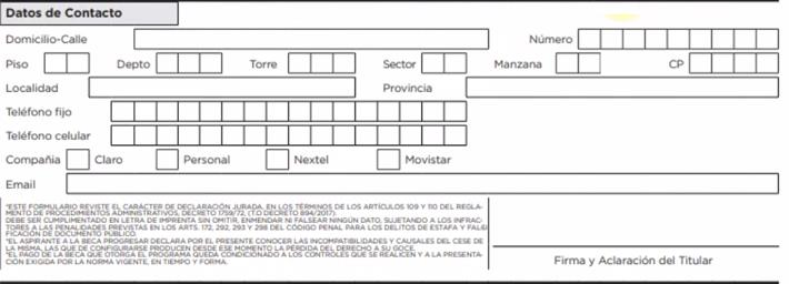 Datos de contacto formulario BECAS PROGRESAR
