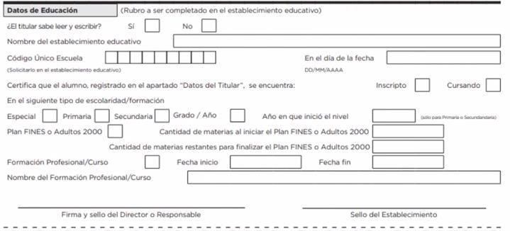 Datos de educación formulario BECAS PROGRESAR