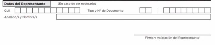 Datos del representante formulario BECAS PROGRESAR