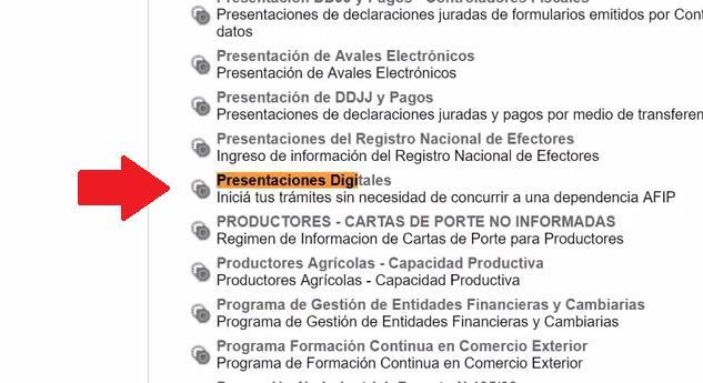 PRESENTACIONES DIGITALES AUTH AFIP