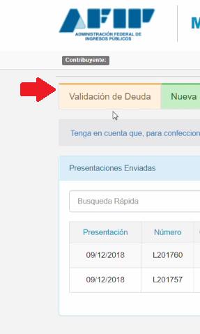 haz clic en el menu de validación de deuda
