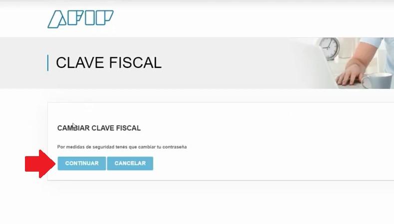 presionar cambiar la clave fiscal