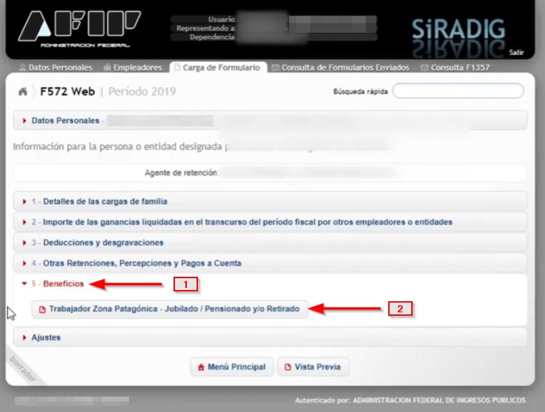 beneficios para jubilados y trabajadores de zona patagónica en el formulario F.572 Web SiRADIG