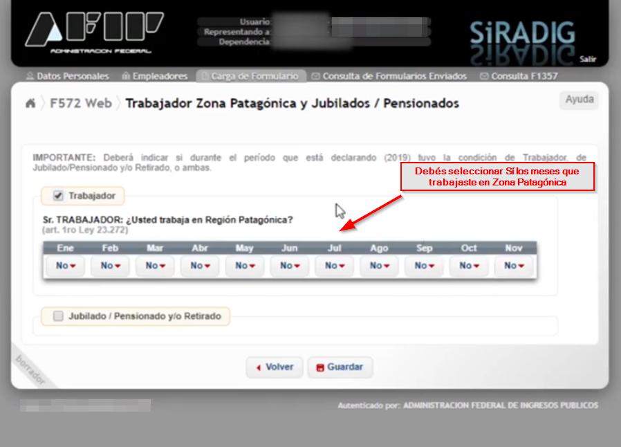 beneficios en el formulario f.572 web para trabajadores de Zona Patagónica