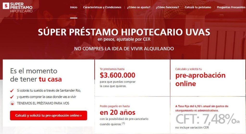hipoteca Santader y crédito hipotecario Santander Super préstamo hipotecario UVA