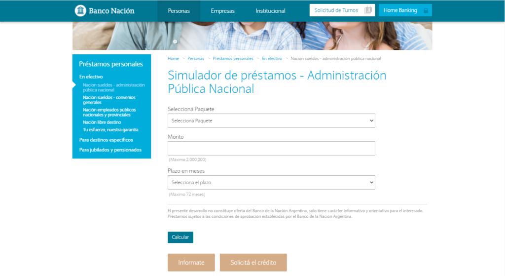 Simulador de prestamos Banco Nación