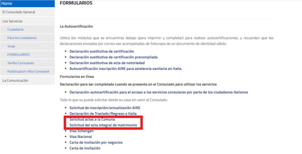 formularios para solicitar ciudadanía italiana