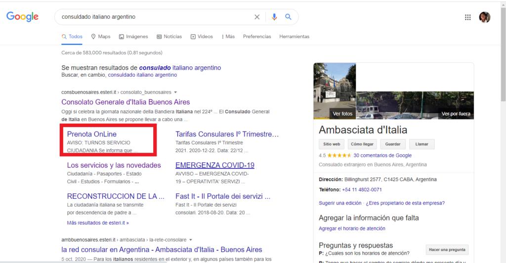 Búsqueda del sistema Prenota Online según la embajada italiana en Argentina