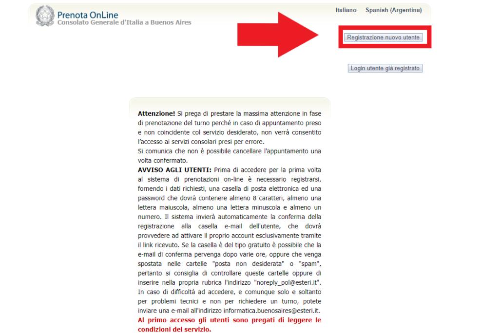 Registro de nuevo usuario en el sistema Prenota Online