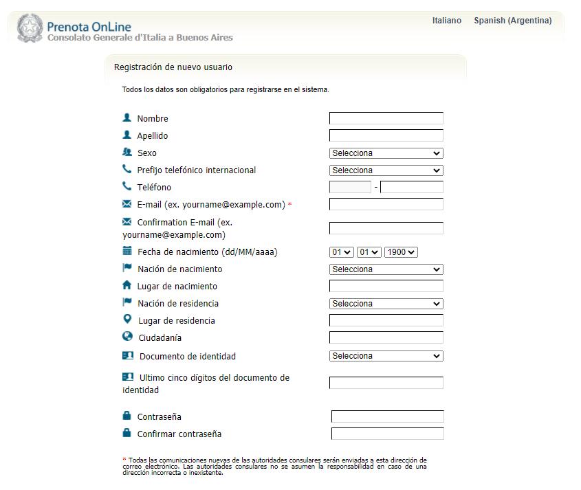 Planilla de datos del sistema Prenota Online