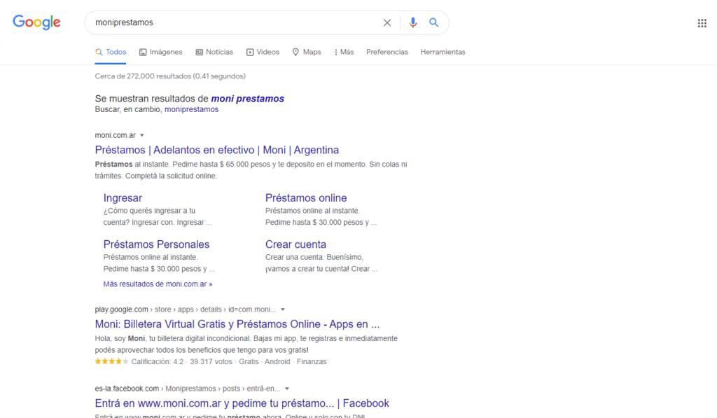 buscador de google de Moni
