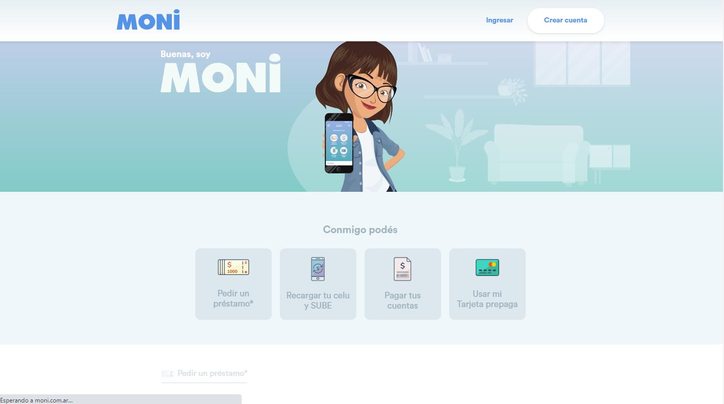 Imagen de la web de moni