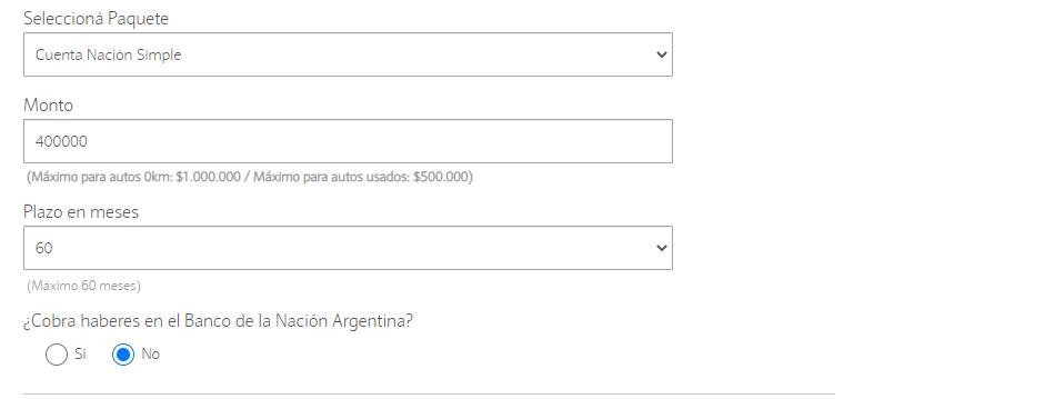 Planilla de opciones para la solicitud de préstamo prendario de banco nacion.