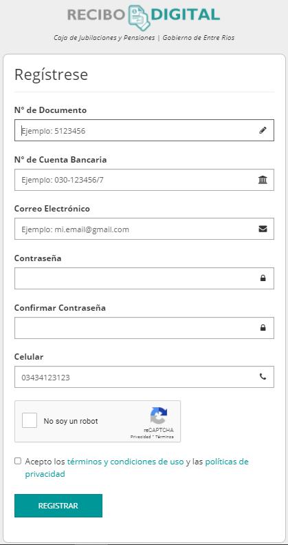 planilla de recibo digital Entre Ríos