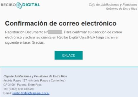 confirmación de correo electrónico de recibo digital