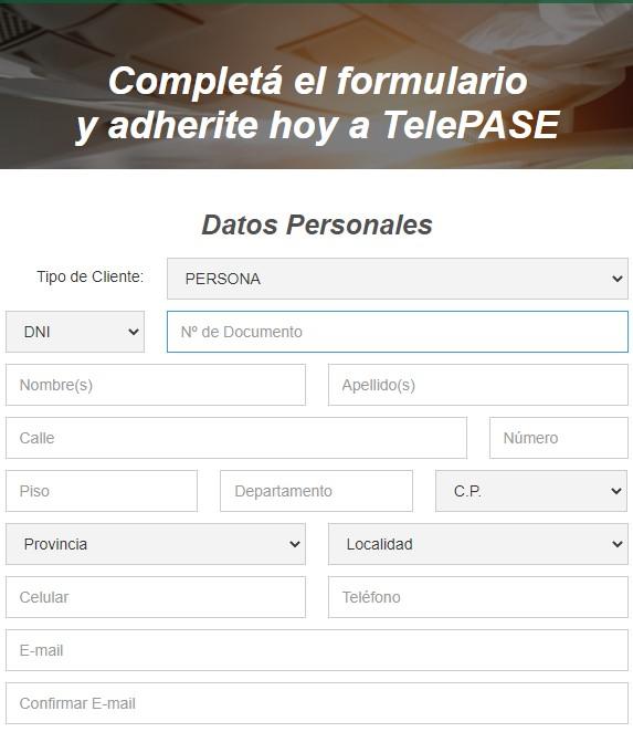 Formulario de TelePASE