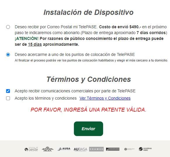 condiciones de TelePASE